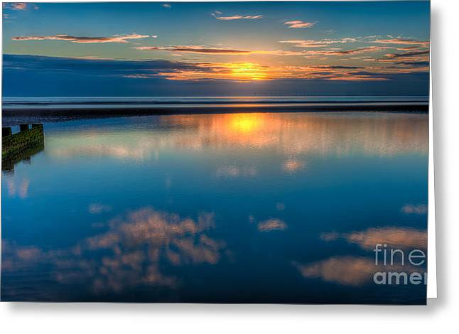 Nature Scene Digital Art Greeting Cards - Sunset Reflections Greeting Card by Adrian Evans