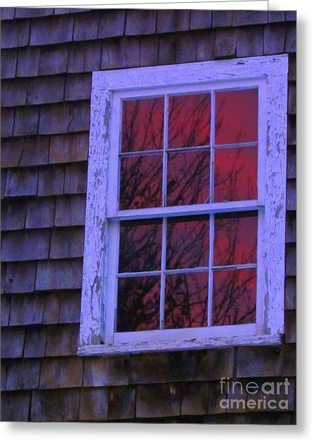 Old Maine Barns Greeting Cards - Sunset Reflections  Greeting Card by Elizabeth Dow