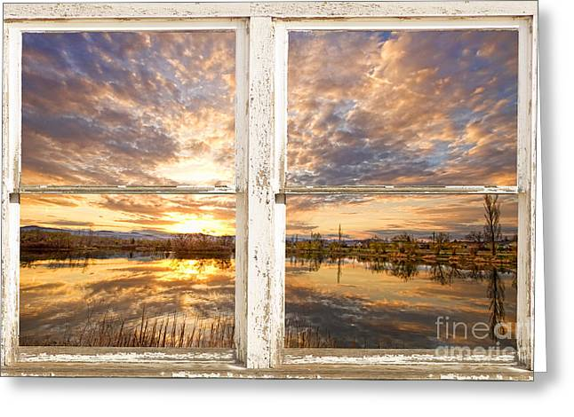 Window Frame Greeting Cards - Sunset Reflections Golden Ponds 2 White Farm House Rustic Window Greeting Card by James BO  Insogna
