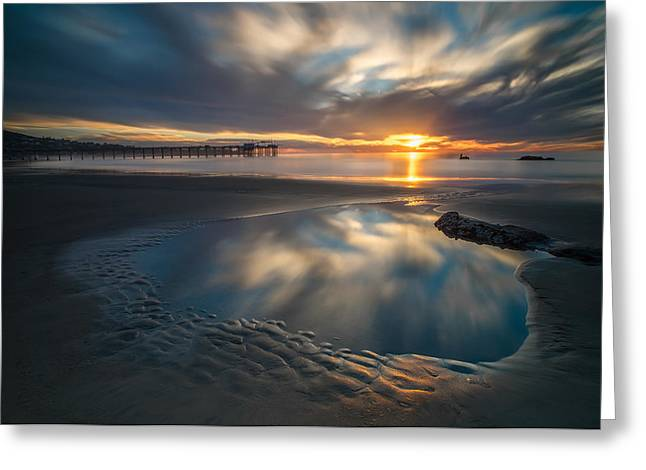 Tide Pool Greeting Cards - Sunset Reflections in San Diego landscape version Greeting Card by Larry Marshall