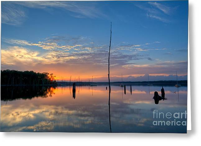 Manasquan Reservoir Greeting Cards - Sunset Reflections Greeting Card by Michael Ver Sprill