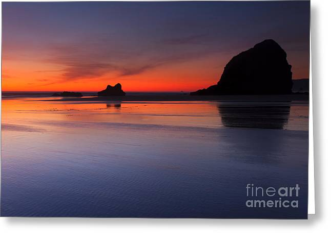 Cannon Beach Greeting Cards - Sunset Reflections Greeting Card by Mike  Dawson