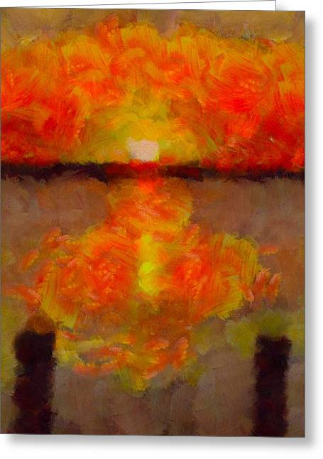 On Fire Mixed Media Greeting Cards - Sunset Reflections On The Dock Greeting Card by Dan Sproul