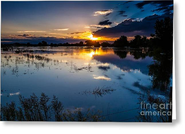 A Summer Evening Greeting Cards - Sunset Reflections Greeting Card by Steven Reed