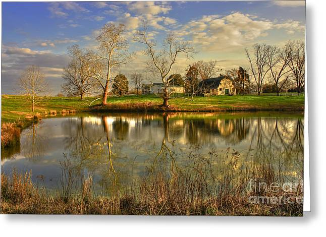 Sunset Reflections Uncle Remus Author Joel Chandler Harris Home Pond Greeting Card by Reid Callaway