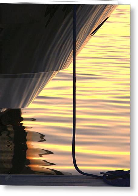 Sunset Reflections With Boat No 2 Greeting Card by Ben and Raisa Gertsberg