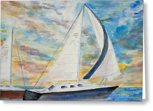 Water Vessels Greeting Cards - Sunset Regatta Greeting Card by Arlissa Vaughn