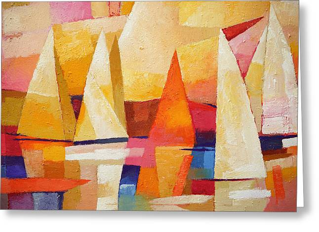 Abstract Seascape Greeting Cards - Sunset Regatta Greeting Card by Lutz Baar