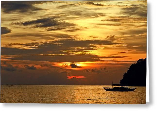 The Sun God Greeting Cards - Sunset Rhythms Greeting Card by Janet Pancho Gupta