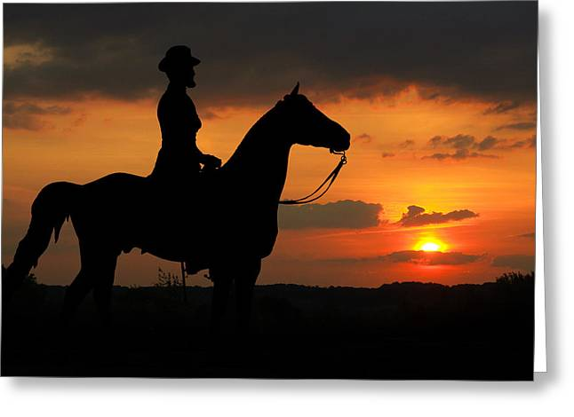 Stone Sentinel Greeting Cards - Sunset Rider Greeting Card by Randy Steele