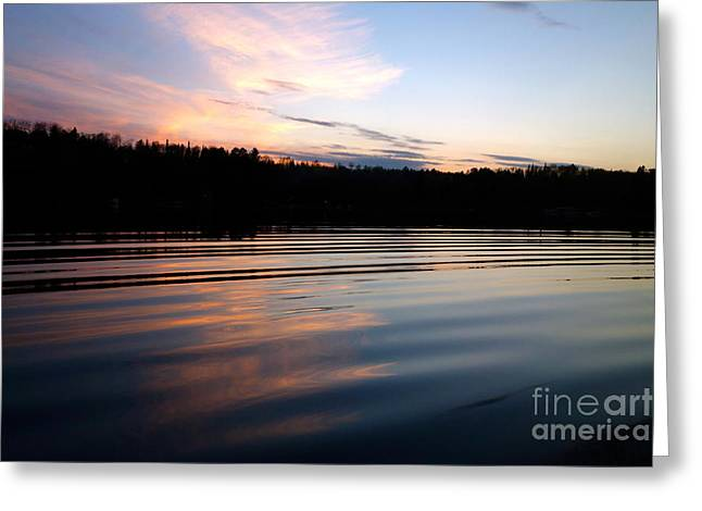 Pulsing Greeting Cards - Sunset Ripples Greeting Card by Jacqueline Athmann