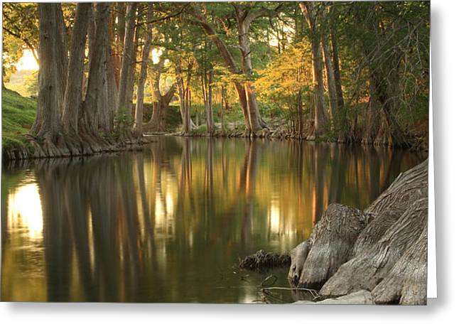 Sunset River Reflections Greeting Card by Paul Huchton