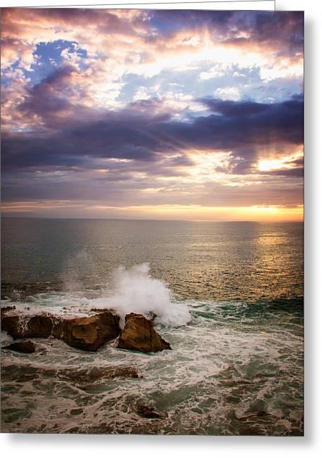Heisler Park Greeting Cards - Sunset Rocks Greeting Card by Vicki Jauron