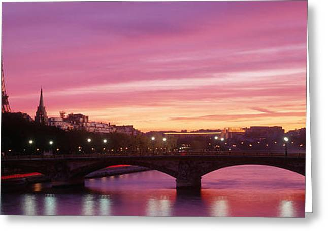 Ironwork Greeting Cards - Sunset, Romantic City, Eiffel Tower Greeting Card by Panoramic Images