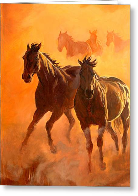 Quarter Horses Paintings Greeting Cards - Sunset Run l Greeting Card by Jana Goode