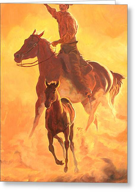Quarter Horse Greeting Cards - Sunset Run R Greeting Card by Jana Goode