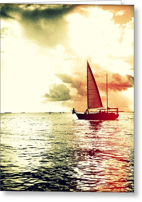 Tropical Oceans Greeting Cards - Sunset Sail - Light Leaks I Greeting Card by Chris Andruskiewicz