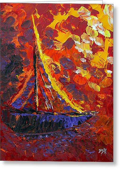 Abstract Expressionist Greeting Cards - Sunset Sail Greeting Card by Donna Blackhall