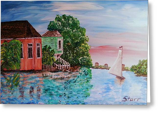 Enhanced Greeting Cards - Sunset Sail Greeting Card by Irving Starr