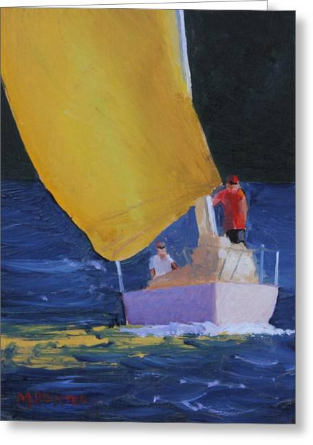 Sailboat Images Paintings Greeting Cards - Sunset Sail Greeting Card by Mark Hunter