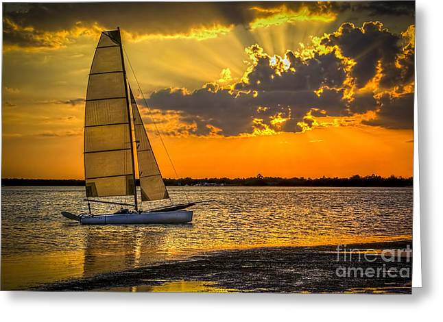 Storm Clouds Greeting Cards - Sunset Sail Greeting Card by Marvin Spates
