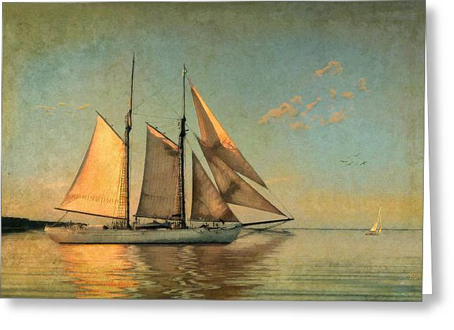 Schooner Greeting Cards - Sunset Sail Greeting Card by Michael Petrizzo