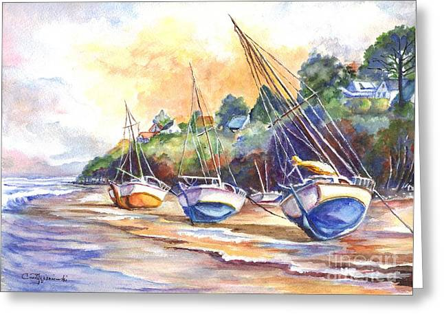 Sunset Greeting Cards Drawings Greeting Cards - Sunset Sail on Brittany Beach  Greeting Card by Carol Wisniewski