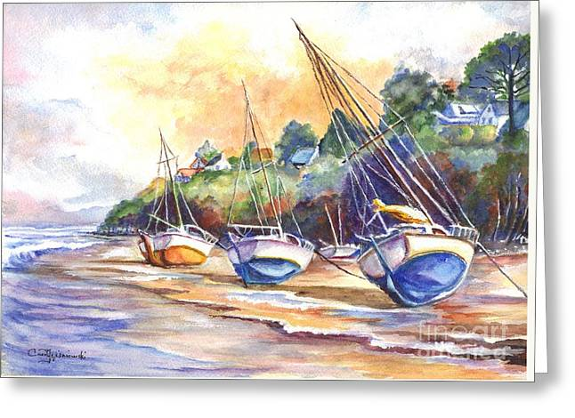 Sailboat Art Greeting Cards - Sunset Sail on Brittany Beach  Greeting Card by Carol Wisniewski