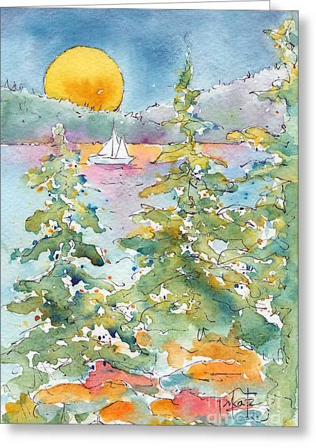 Pat Katz Greeting Cards - Sunset Sail On Waskesiu Lake Greeting Card by Pat Katz