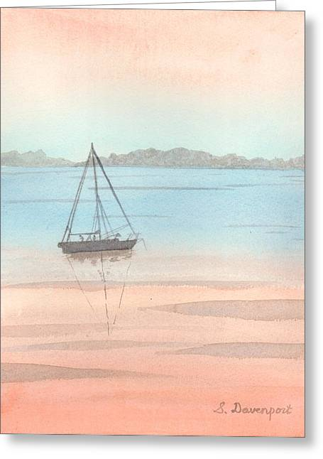 Finger Lakes Paintings Greeting Cards - Sunset Sailaboat Greeting Card by Sara Davenport