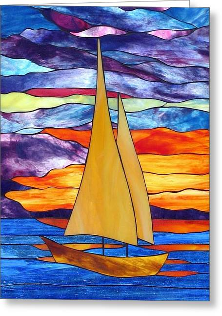 Sailboat Glass Art Greeting Cards - Sunset Sailboat Greeting Card by Suzanne Tremblay