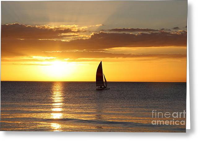 Sunset Sailing Greeting Card by Christiane Schulze Art And Photography