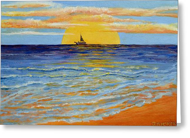 Swim Ladder Greeting Cards - Sunset Sailing Greeting Card by Jane  Ricker