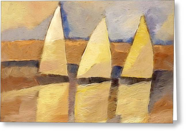 Sunset Sailing Greeting Card by Lutz Baar