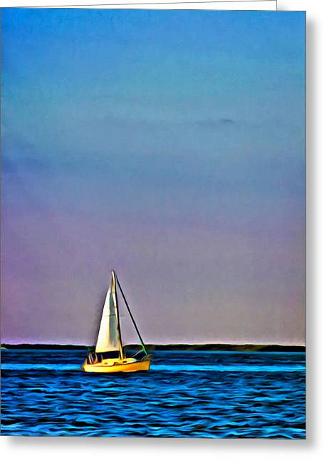 Sailboat Art Greeting Cards - Sunset Sailing Greeting Card by Patrick M Lynch