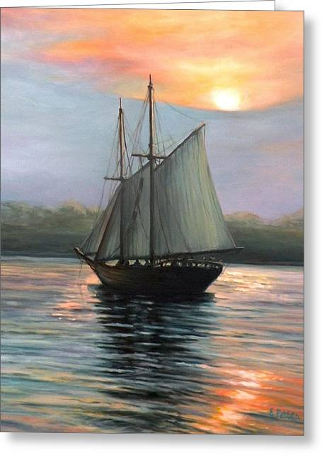 Schooner Greeting Cards - Sunset Sails Greeting Card by Eileen Patten Oliver