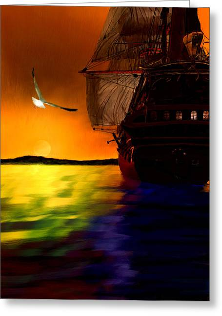 Ship Digital Art Greeting Cards - Sunset Sails Greeting Card by Lourry Legarde