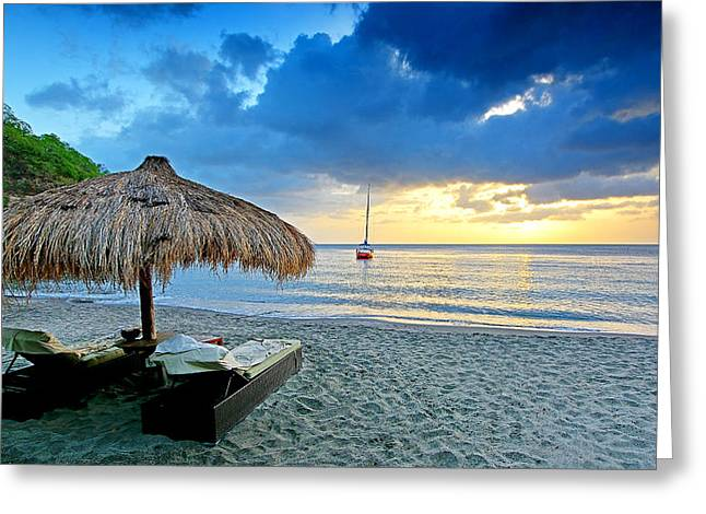 Caribbean Sunset Greeting Cards - Sunset - Saint Lucia Style Greeting Card by Brendan Reals