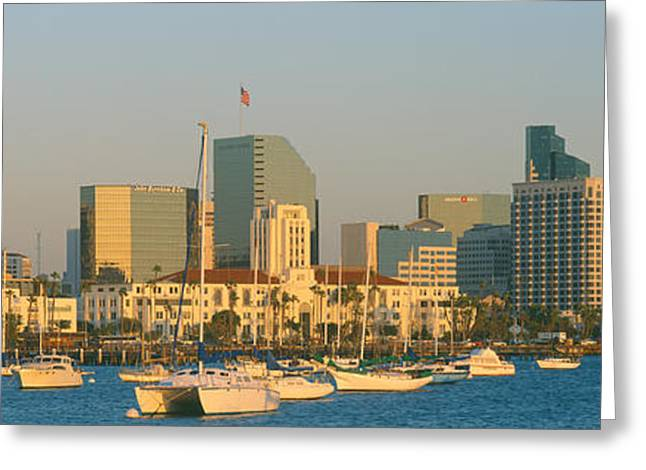 Docked Sailboats Greeting Cards - Sunset, San Diego Harbor, California Greeting Card by Panoramic Images