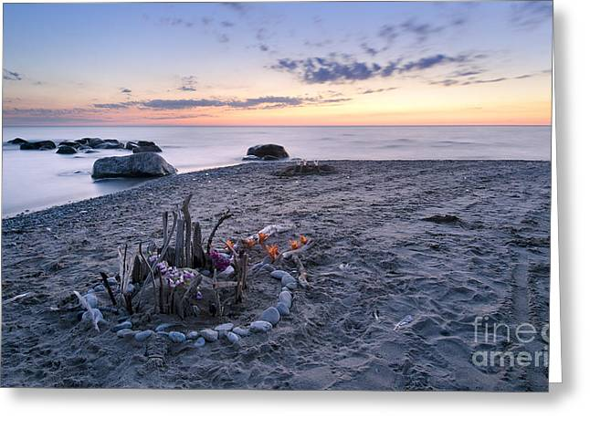 Sand Castles Greeting Cards - Sunset Sand Castle Greeting Card by N R