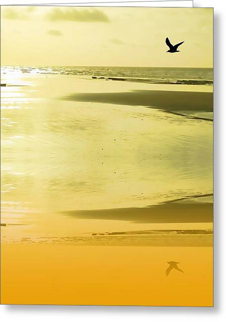 Sand And Sea Greeting Cards - Sunset sand Greeting Card by Sharon Lisa Clarke
