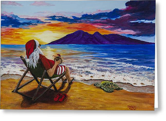 Sunset Santa Greeting Card by Darice Machel McGuire