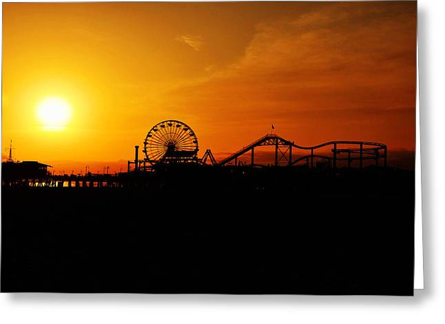 Usa Pyrography Greeting Cards - Sunset Santa Monica Pier Greeting Card by Steffen Schumann