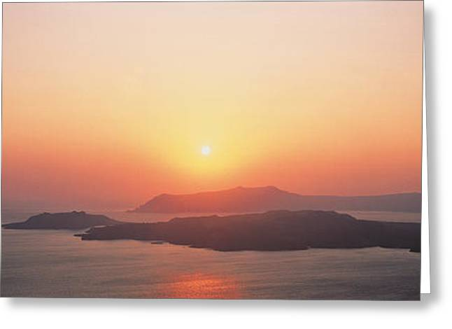 Greek Islands Greeting Cards - Sunset Santorini Island Greece Greeting Card by Panoramic Images