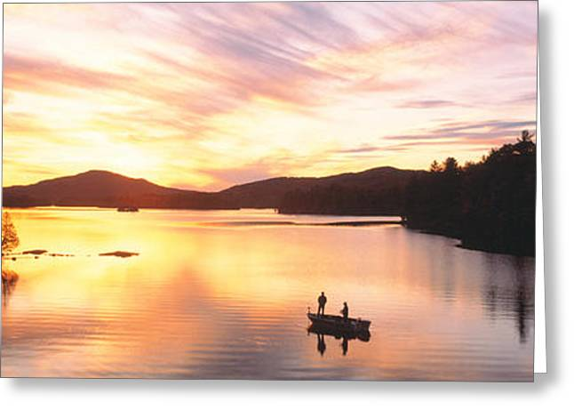 Sunset Saranac Lake Franklin Co Greeting Card by Panoramic Images