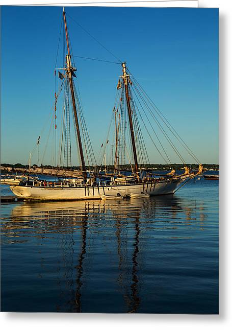Water Reflecting At Sunset Greeting Cards - Sunset Schooner Greeting Card by Karol  Livote