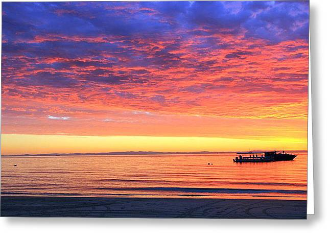 Seaside Greeting Cards - Sunset  Sea View Greeting Card by Francis Tan