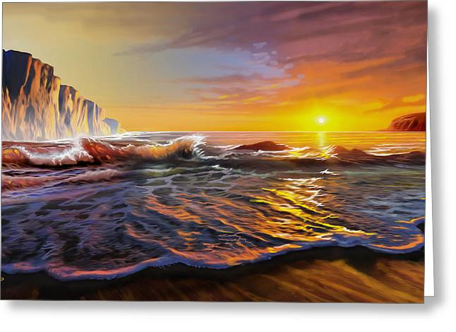 Panoramic Ocean Greeting Cards - Sunset Seascape Greeting Card by Anthony Mwangi
