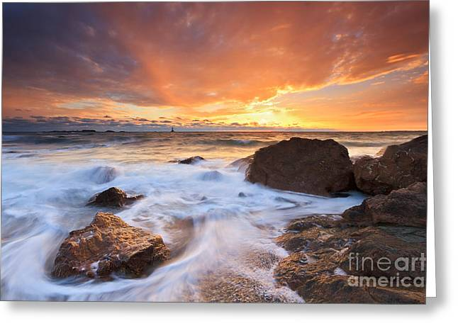 Beach Greeting Cards - Sunset Seascape at Sakonnet Point Greeting Card by Katherine Gendreau