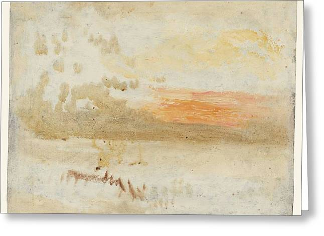 Jmw Greeting Cards - Sunset seen from a beach with breakwater Greeting Card by Joseph Mallord William Turner